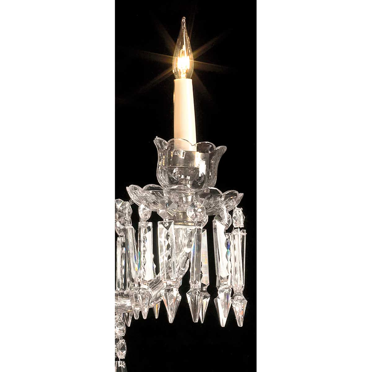 Cut Glass and Crystal Six Light Hanover Chandelier