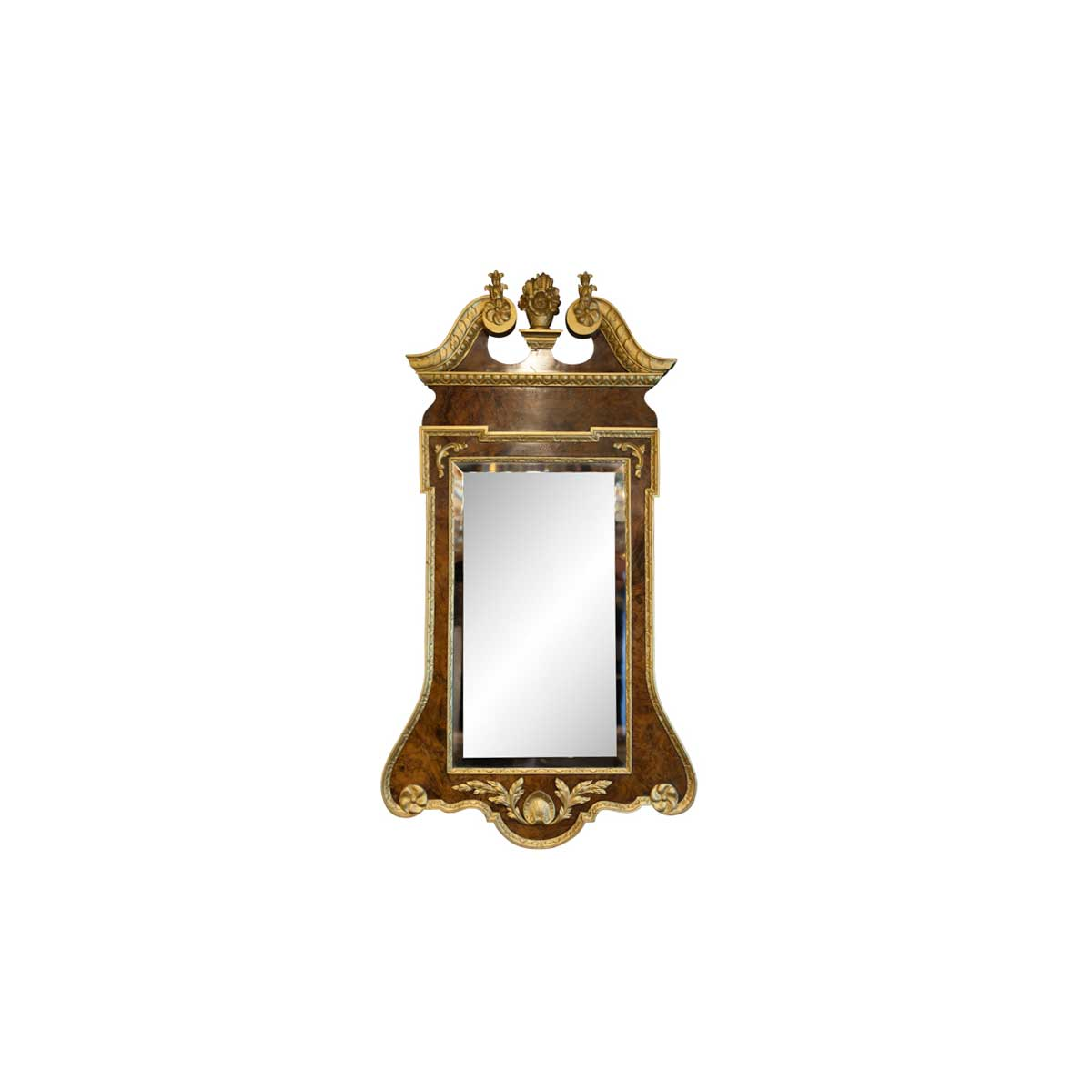 Antique George II Style Walnut and Gilded Mirror