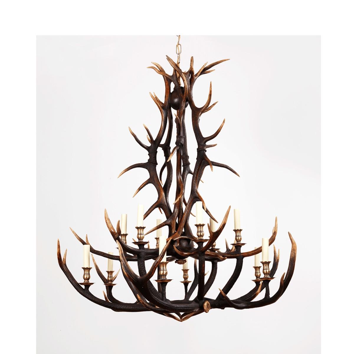 Antlers Two Tier Scottish Highlands Antler Ceiling Lighting Chandelier