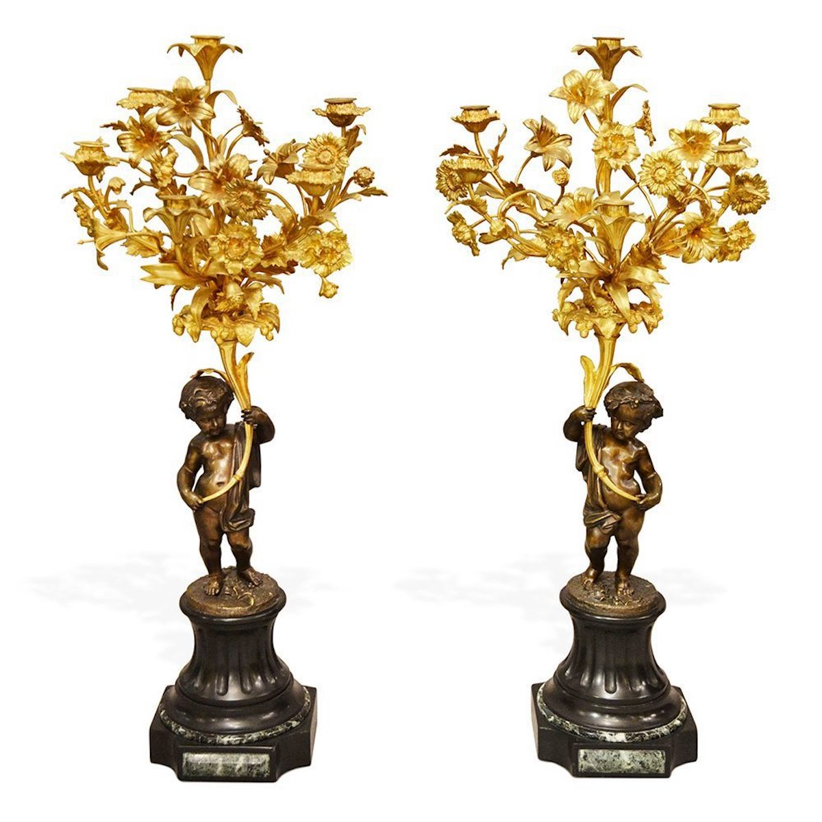 Pair of Early 20th Century Antique Bronze, Slate and Ormolu Cherub Candelabra