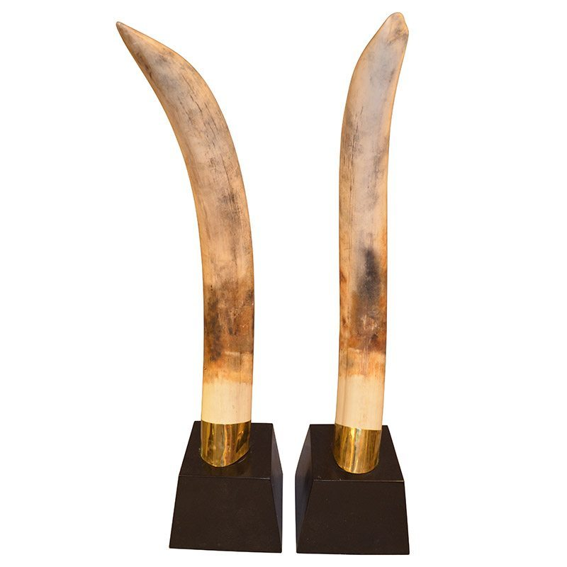Large Pair of Decorative Resin Replica Elephant Tusks