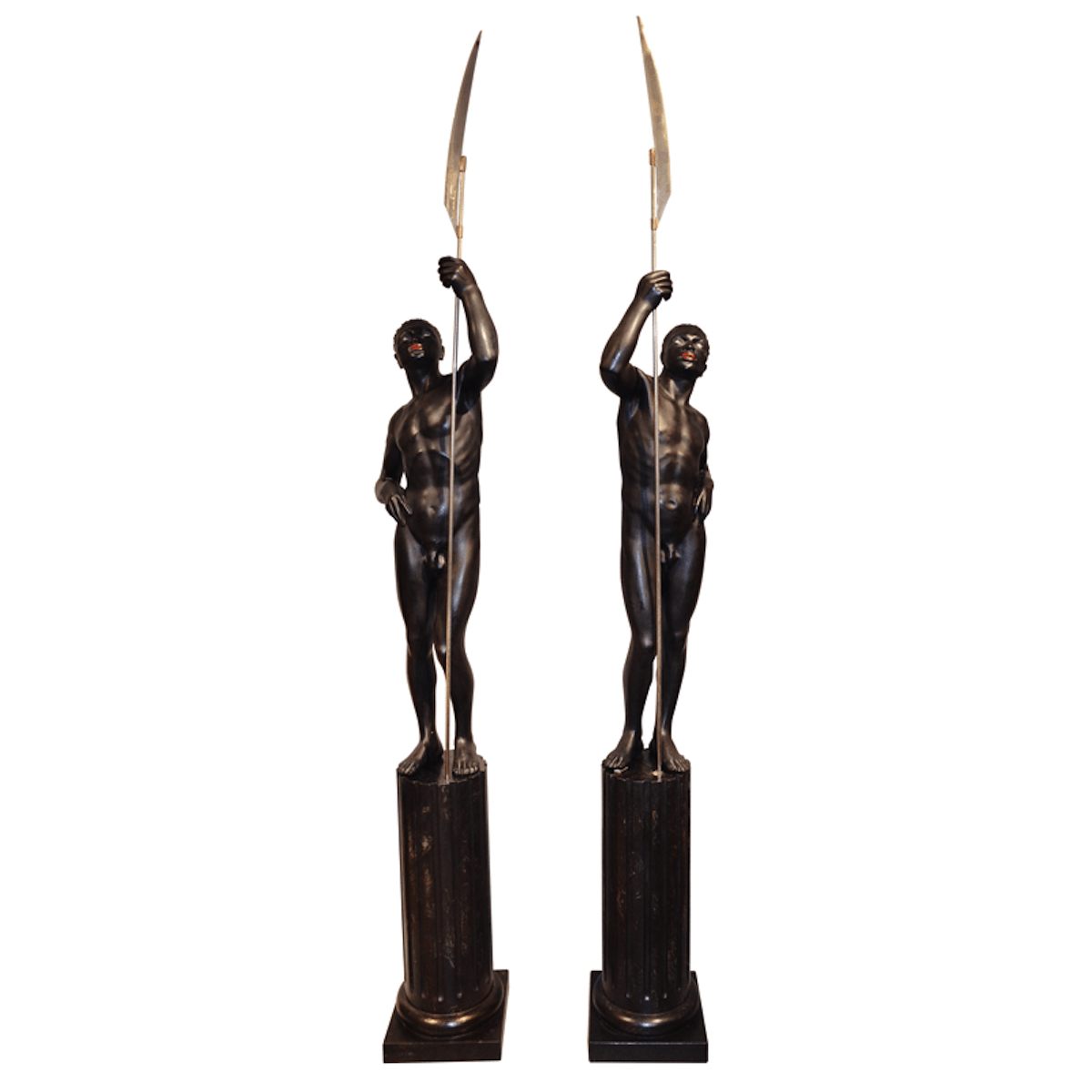 A Pair of Anthony Redmile Black Resin Nubian Men on Pedestals