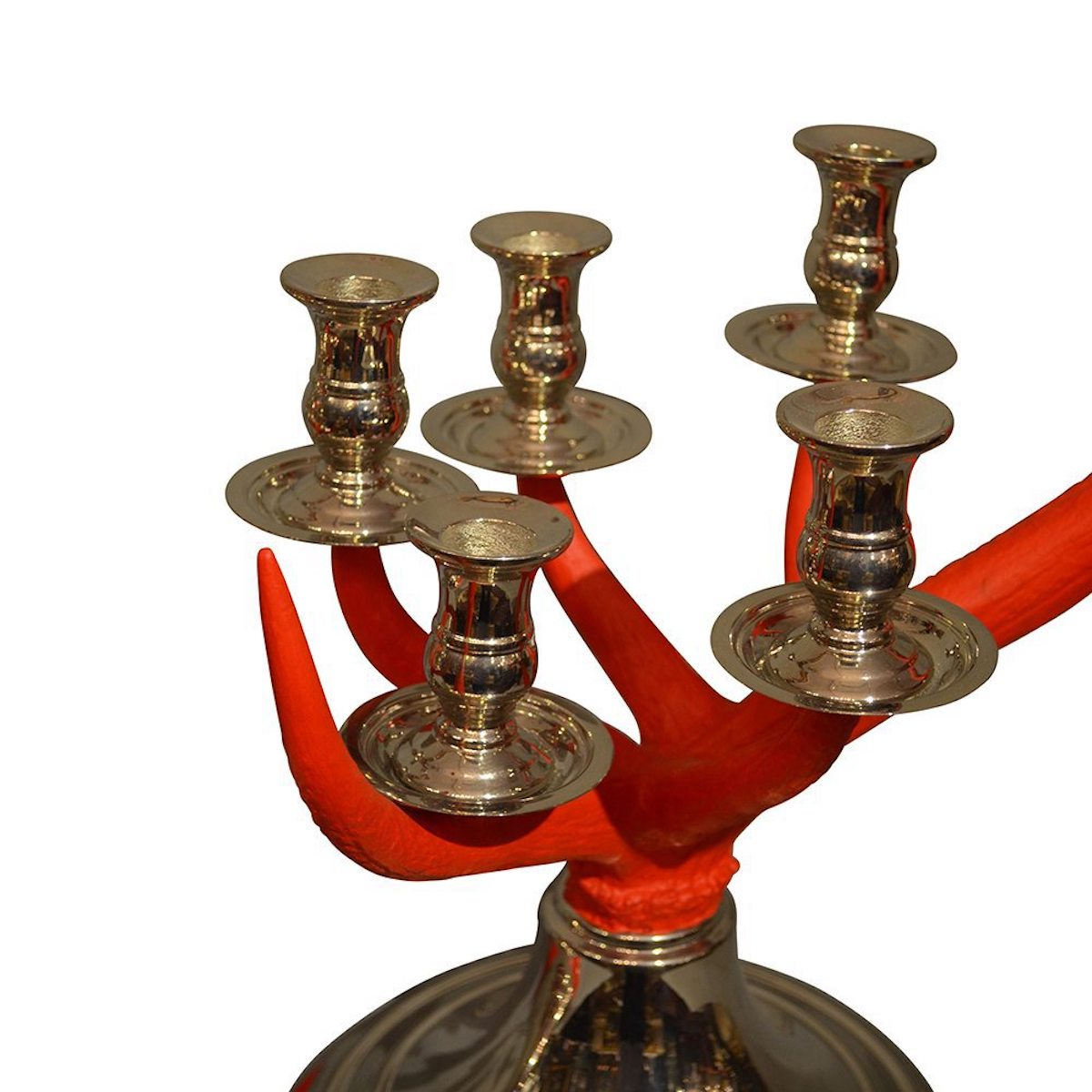 Red Painted Scottish Highlands Antler Candlesticks