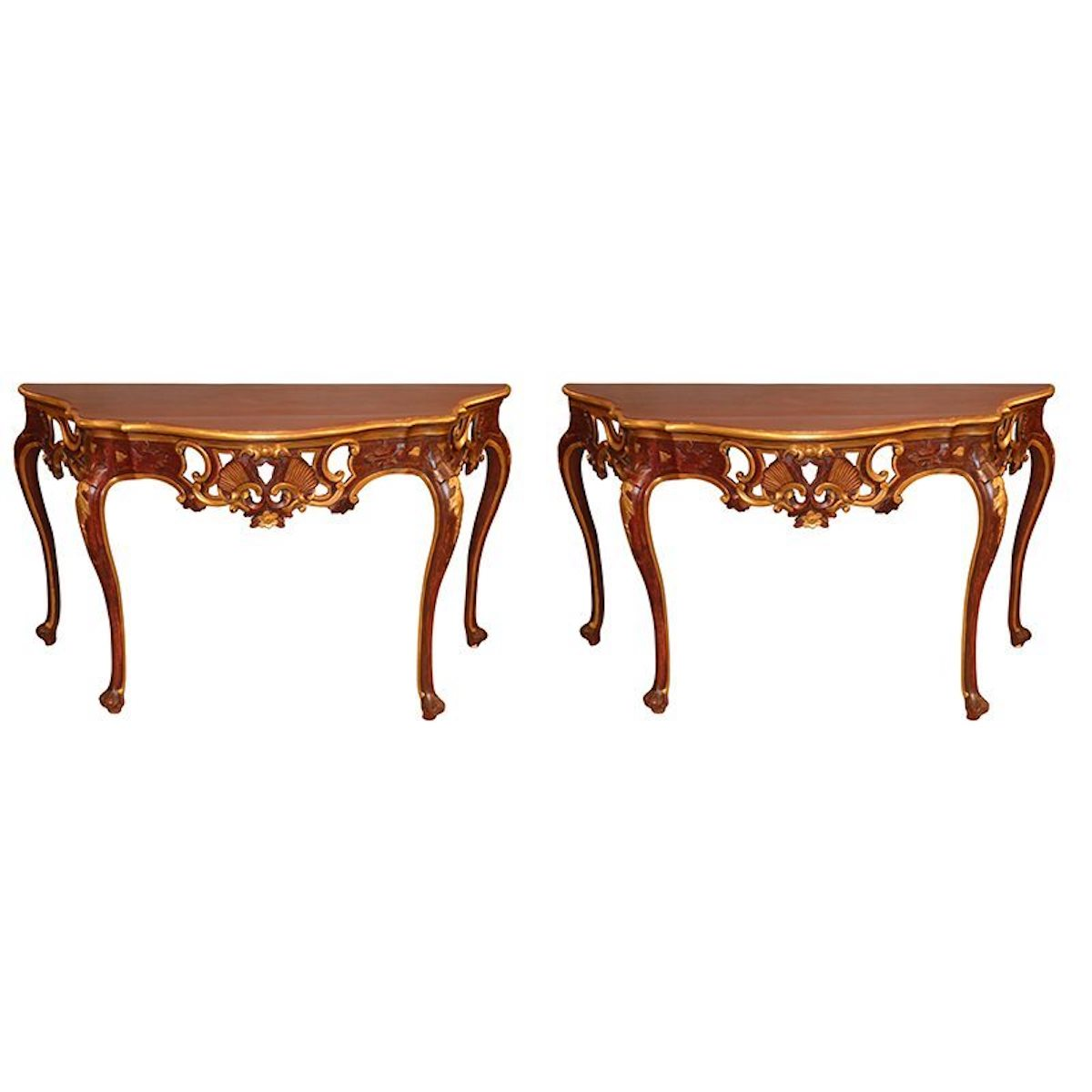 19th Century Antique Pair of Painted and Giltwood Italian Console Tables